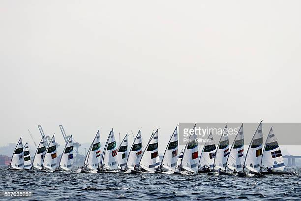 The Women's Laser Radial class competes on Day 4 of the Rio 2016 Olympic Games at the Marina da Gloria on August 9 2016 in Rio de Janeiro Brazil