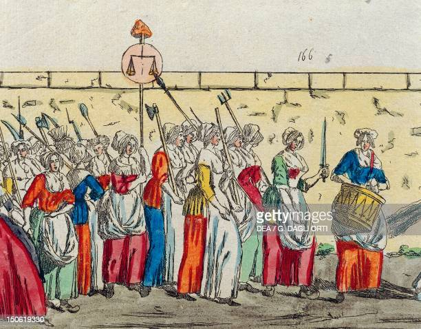 The women's march on Versailles in October print French Revolution France 18th century
