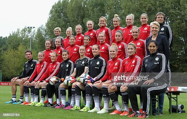 The Women's National Team of Germany poses for a team photo Headcoach Silvia Neid Leonie Maier Tabea Kemme Pauline Bremer Saskia Bartusiak Anja...