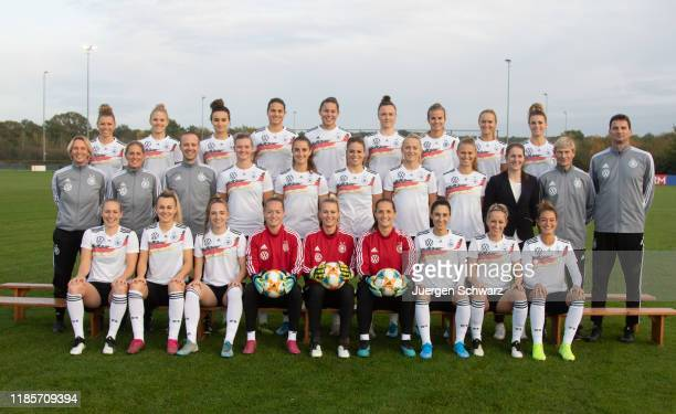 The women's national team of Germany poses on November 05, 2019 in Tegelen, Netherlands. Picture shows first row Pauline Bremer, Lena Lattwein,...