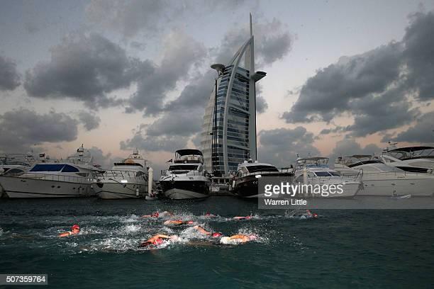 The Women's professional race starts during the IRONMAN 703 Dubai on January 29 2016 in Dubai United Arab Emirates