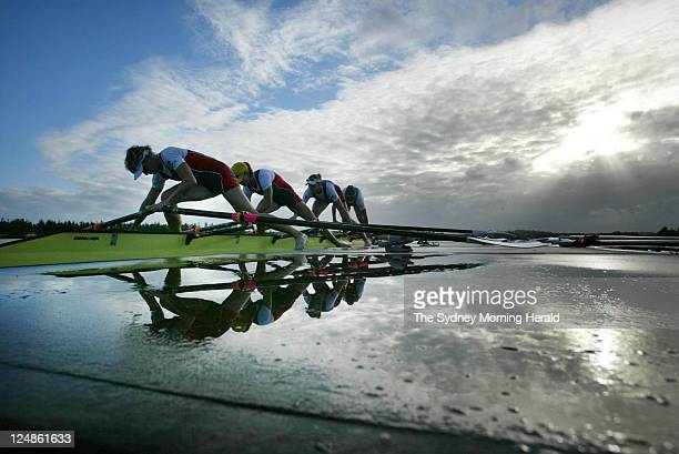 The Womens Quad Scull Amber Bradley, Kerry Hore, rebecca Sattin and Jane Robinson prior to their Olympic rowing trials for the 2004 Athens Olympic...