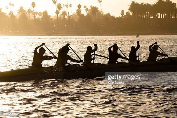 The women's Santa Barbara Outrigger Team paddles a six-person Unlimited Canoe off the coast of Santa Barbara, California.