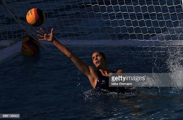 The Women's Water Polo team from Hungary practices during a training session at the Maria LenkAquatics Centre ahead of the the 2016 Olympics on...