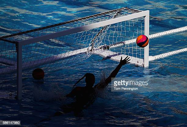 The Women's Water Polo team from Hungary practices during training at the Maria Lenk Aquatics Centre on August 5 2016 in Rio de Janeiro Brazil