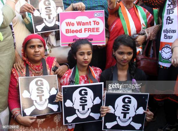 The women's wing of the NCP held a protest outside the Sales Tax office demanding exclusion of sanitary napkins from the GST ambit and to make it tax...