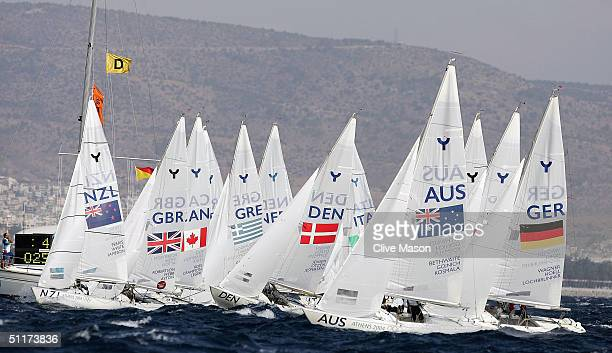 The womens Yngling race gets underway on August 15 2004 during the Athens 2004 Summer Olympic Games at Agios Kosmas Olympic Sailing Centre in Athens...