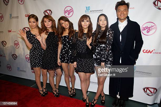 The Wonder Girls and JY Park appear on the red carpet for the Premiere Of TeenNick's 'The Wonder Girls' on January 20 2012 in Los Angeles California