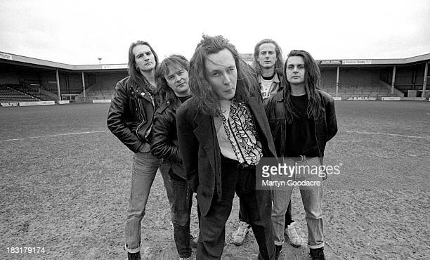 The Wonderstuff pose for group portraits at Bescot Stadium Walsall United Kingdom 1991