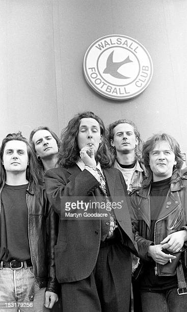 The Wonderstuff pose for group portraits at Bescot Stadium, Walsall , United Kingdom, 1991.