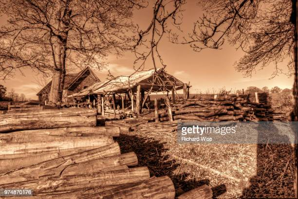 the wood cutter's office in sepia effect - wood effect stock photos and pictures