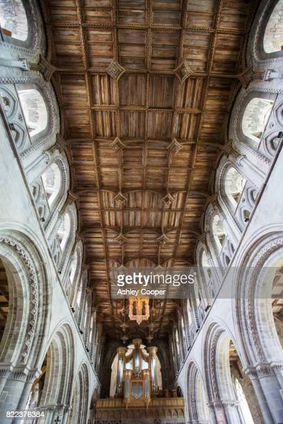 the wood pannelled ceiling in st davids cathedral in st davids, pembrokeshire, wales, uk. - st davids stock pictures, royalty-free photos & images