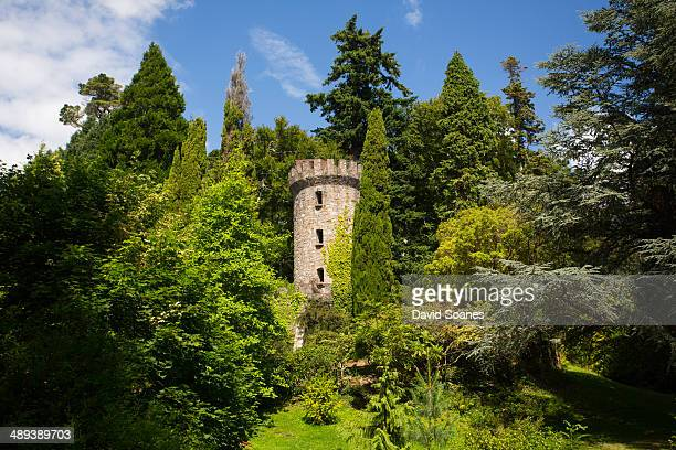 The wooded valley with a stone tower, castle and gardens. Powerscourt Estate is a popular tourist attraction in the County Wicklow, Ireland.