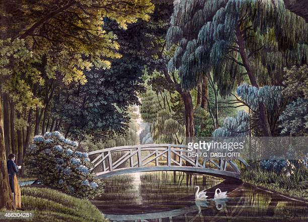 The wooden bridge over the river near the statue of Diana garden of the Chateau of Malmaison painting by Auguste Garneray France 19th century