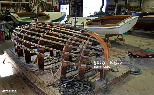 The wooden frame where a Beetle Cat sailboat hull is shaped is pictured at Beetle Inc in Wareham MA on May 10 2017 Beetle Inc are the sole builders...