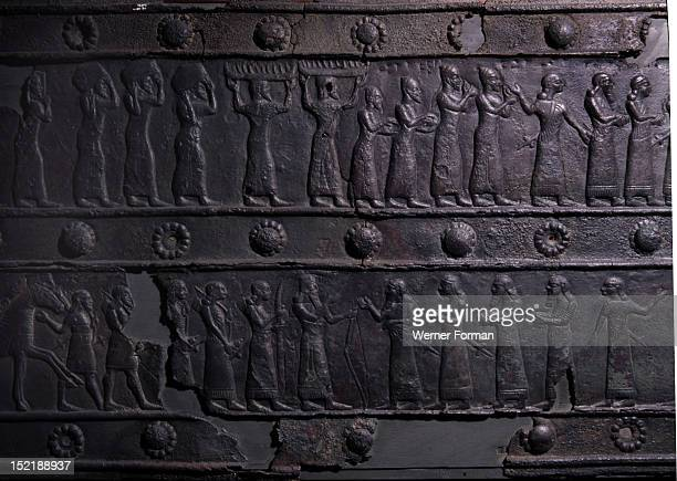The wooden gates of Shalmaneser III with bands of relief decoration in bronze Shalmaneser receives the tribute fromthe city of Tyr Assyrian Late...