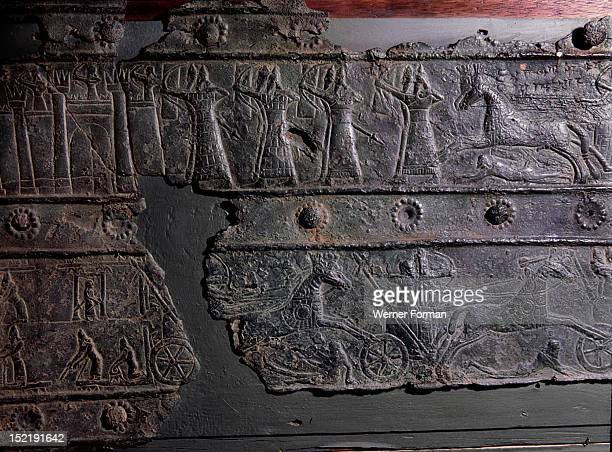 The wooden gates of Shalmaneser III with bands of relief decoration in bronze The detail shows the Assyrian assault on the city of Khazazu Assyrian...