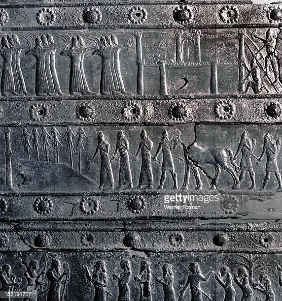 The wooden gates of Shalmaneser III with bands of relief decoration in bronze The detail depicts executed prisoners taken during the capture by the...