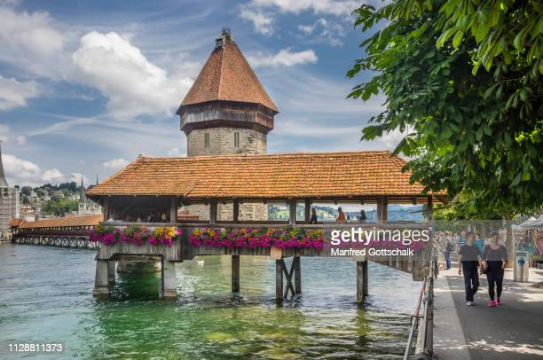 wooden medieval kapellbrücke chapel bridge with