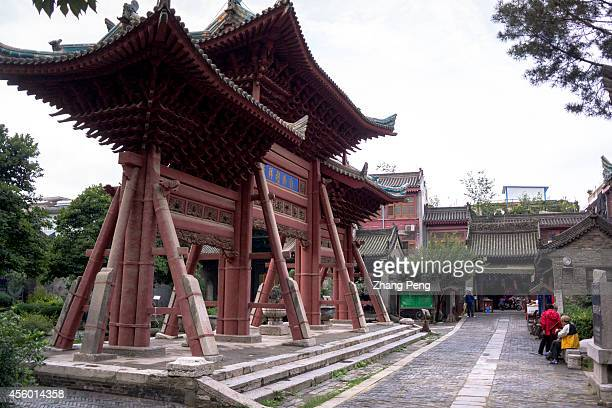 XI'AN SHAANXI CHINA The wooden memorial archway built in the beginning of the 17th century at the Xi'an Great Mosque which is a blend of traditional...