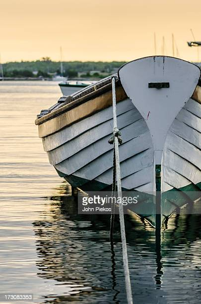 the wooden row boat - marthas vineyard stock pictures, royalty-free photos & images