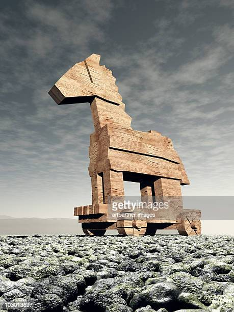 The wooden Trojan Horse in Front of a Dark Sky