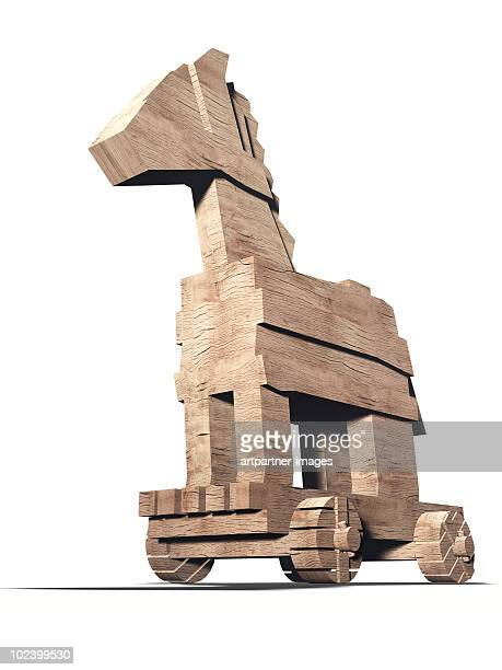 The wooden Trojan Horse on white background
