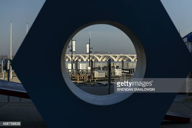 The Woodrow Wilson Memorial Bridge connecting Viginia and Maryland over the Potomac River is seen November 10, 2014 from National Harbor, Maryland....