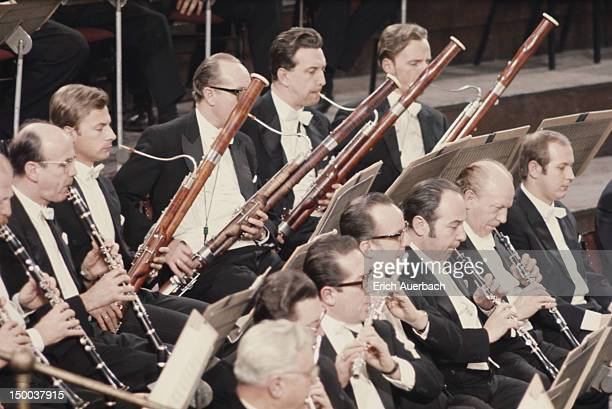 The woodwind section of the Vienna Philharmonic Orchestra in performance, circa 1975.