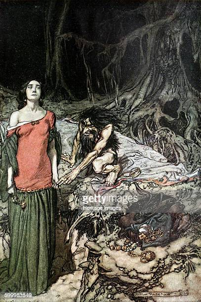 The wooing of Grimhilde the mother of Hagen Illustration for Siegfried and The Twilight of the Gods by Richard Wagner 1910 Private Collection Artist...