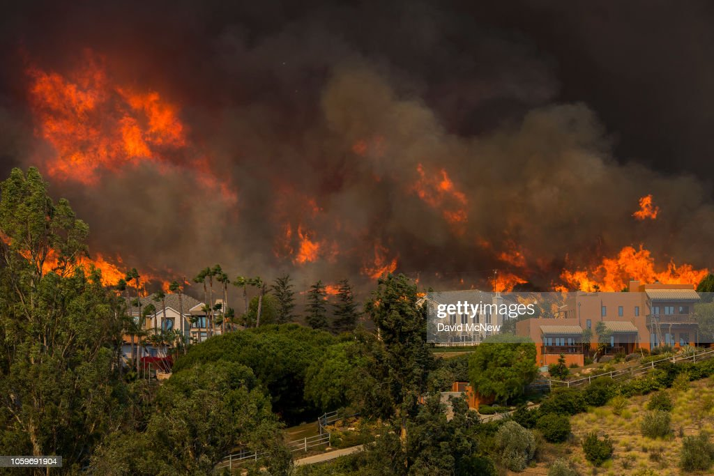 Fast-Spreading Hill and Woolsey Fires Force Evacuations In California's Ventura County : News Photo