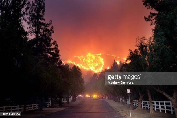 The Woolsey Fire burns towards Paramount Ranch on November 9 2018 in Agoura Hills California