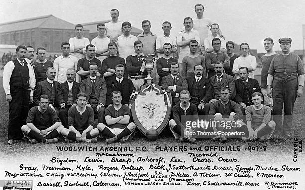 The Woolwich Arsenal Football Squad and Officials for the 190708 season at Plumstead in London circa September 1907 Back row Bigdern Lewis RJ...