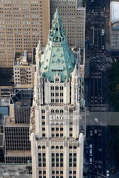 The Woolworth Building stands in lower Manhattan in this aerial photo taken over New York US on Wednesday July 7 2010 New York City the thirdlargest...