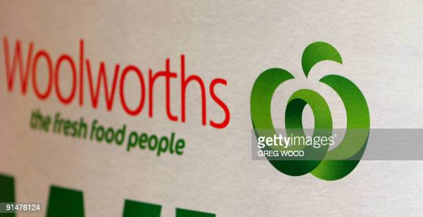The Woolworths logo launched in August 2008 and still being rolled out in stores around Australia is shown in this photo taken in Sydney on October 6...