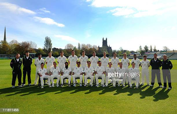 The Worcestershire CCC 2011 squad pose for a team photograph during a photocall at New Road on April 7 2011 in Worcester England