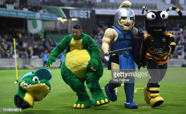 The Worcestershire mascot looses his head during the half time mascot race during the Vitality Blast match between Birmingham Bears and...