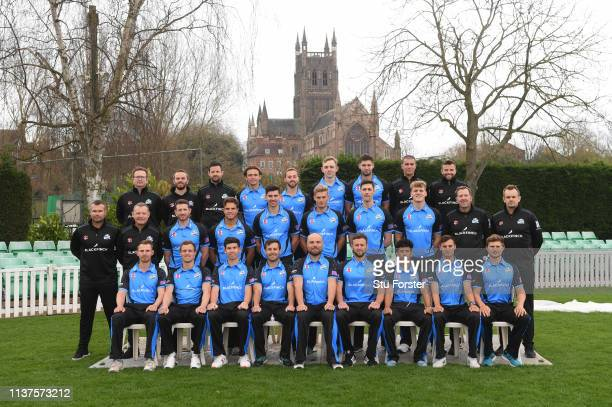 The Worcestershire squad pictured in their One Day Kit ahead of the 2019 season during the Worcestershire County Cricket Photocall at New Road on...
