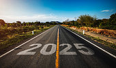 The word 2025 written on highway road in the middle of empty asphalt road