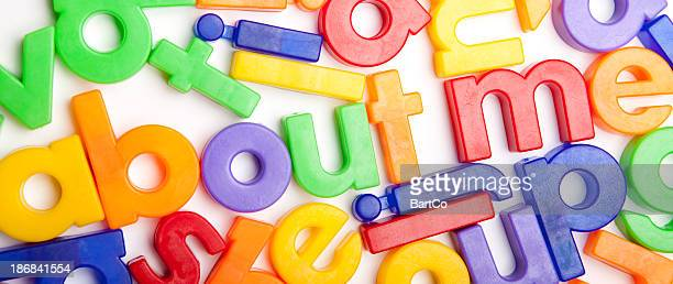 The word about me in colorful letters