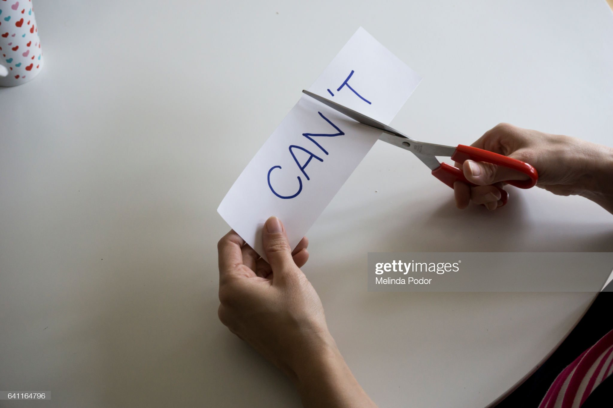 The word CAN'T, with the 'T cut off to spell CAN : Stock Photo