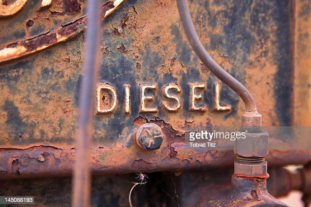 the word diesel on a rusty vehicle, close-up - single word stock pictures, royalty-free photos & images