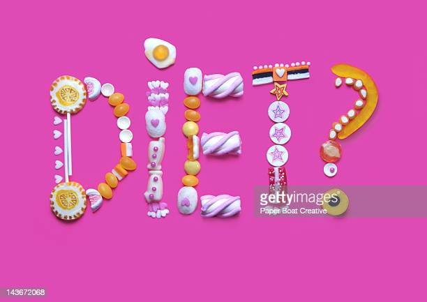 The word diet written from gummy candy and sweets