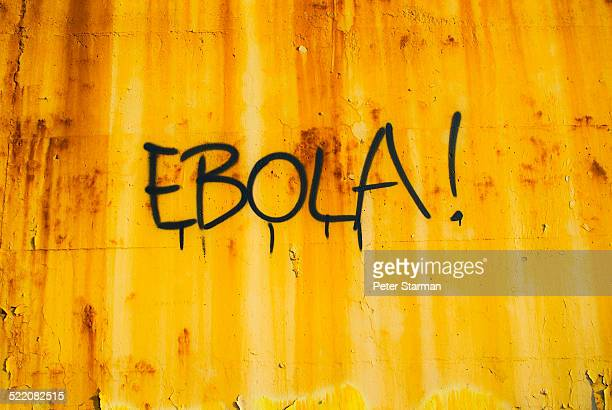 The word 'Ebola' virus spray painted onto wall