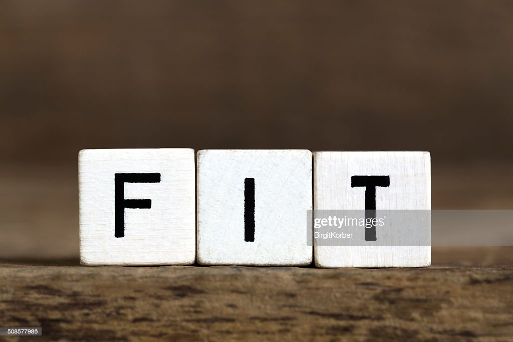 The word fit written in cubes : Stock Photo