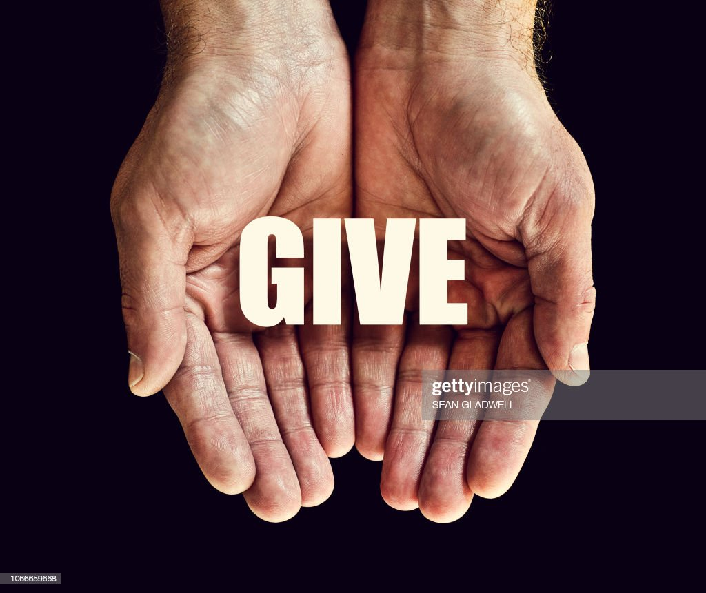 The word give in hands : Stock Photo