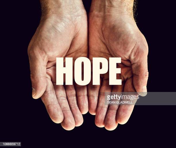 the word hope in hands - single word stock pictures, royalty-free photos & images