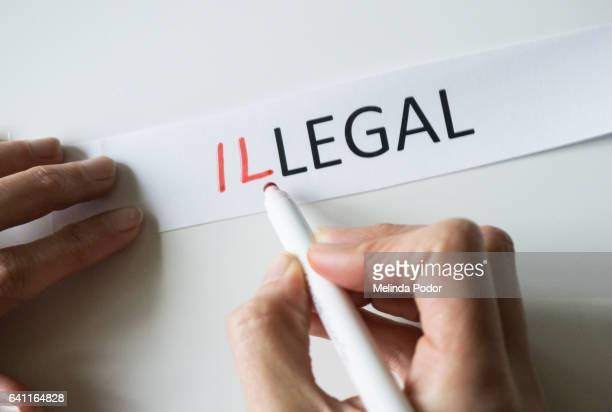The word LEGAL, with letters added in front to spell ILLEGAL