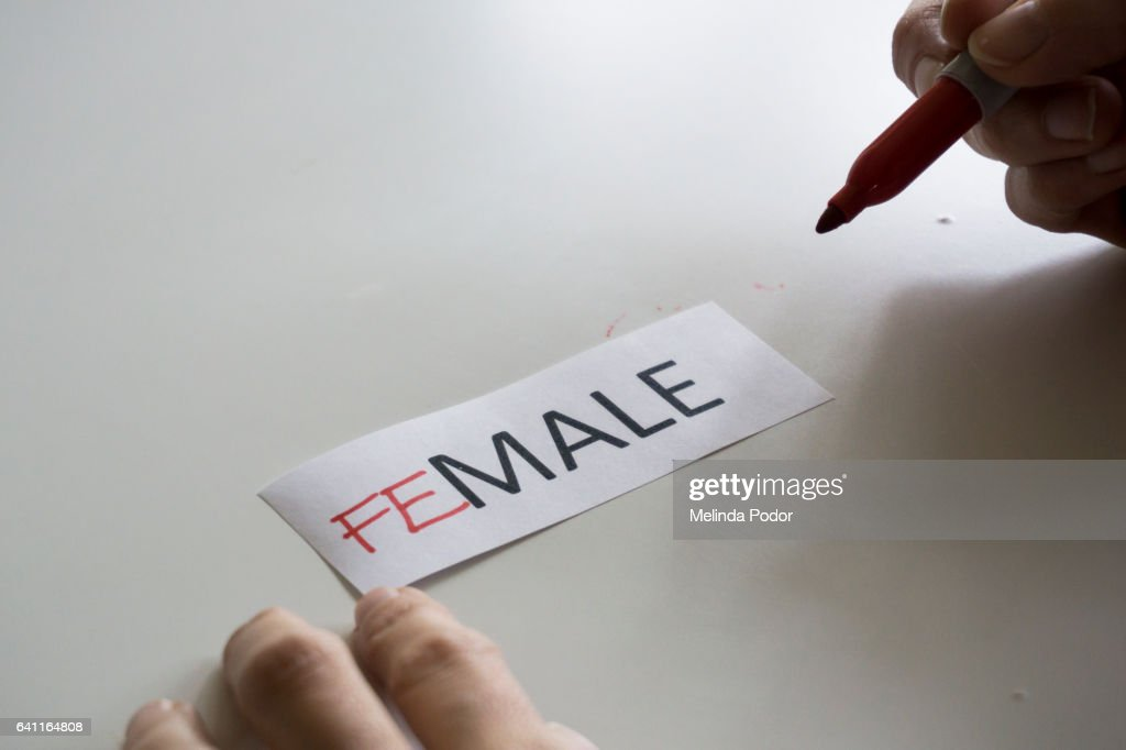 The word MALE, with the letters FE added to spell FEMALE : Stock Photo