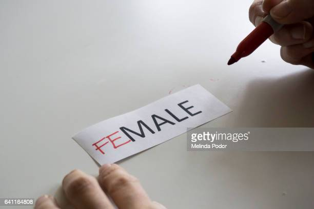 The word MALE, with the letters FE added to spell FEMALE
